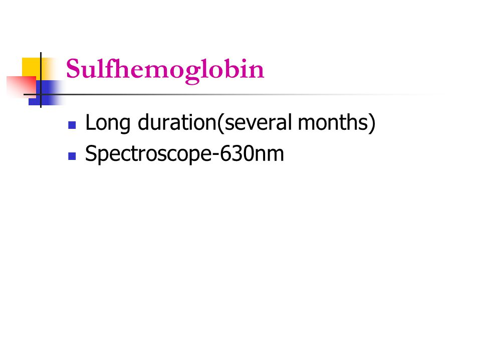 Sulfhemoglobin Long duration(several months) Spectroscope-630nm