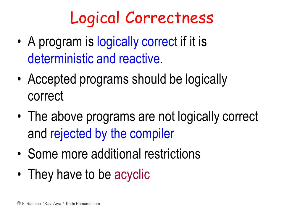 © S. Ramesh / Kavi Arya / Krithi Ramamritham Logical Correctness A program is logically correct if it is deterministic and reactive. Accepted programs