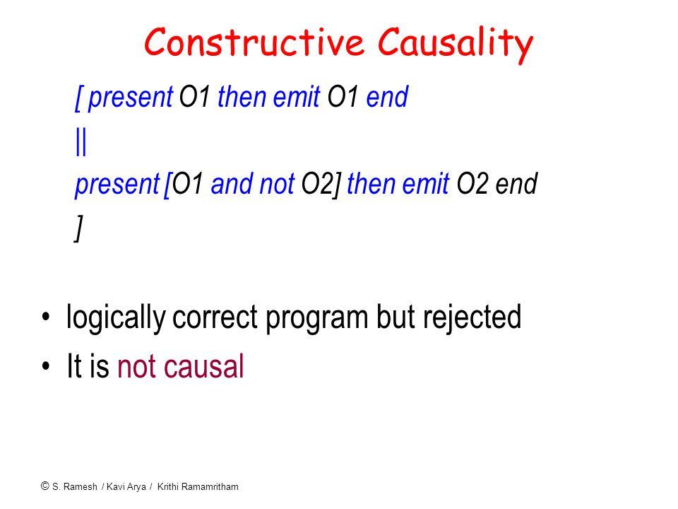 © S. Ramesh / Kavi Arya / Krithi Ramamritham Constructive Causality [ present O1 then emit O1 end || present [O1 and not O2] then emit O2 end ] logica