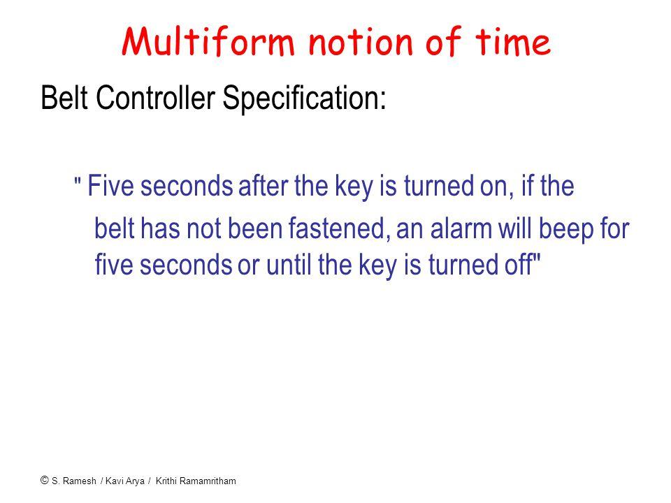 © S. Ramesh / Kavi Arya / Krithi Ramamritham Multiform notion of time Belt Controller Specification: