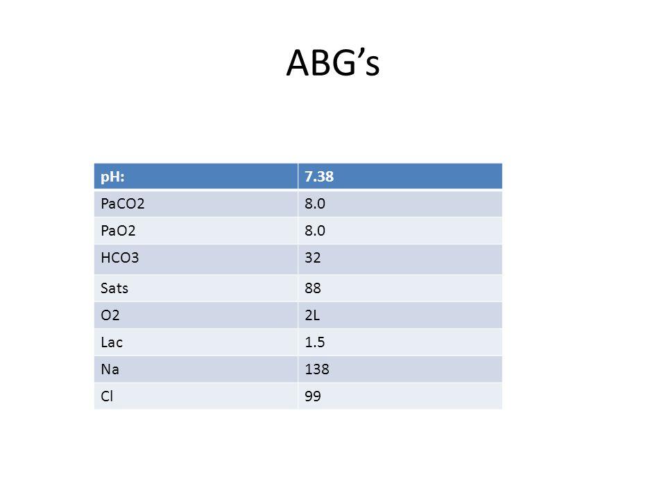 ABG's pH:7.38 PaCO28.0 PaO28.0 HCO332 Sats88 O22L Lac1.5 Na138 Cl99