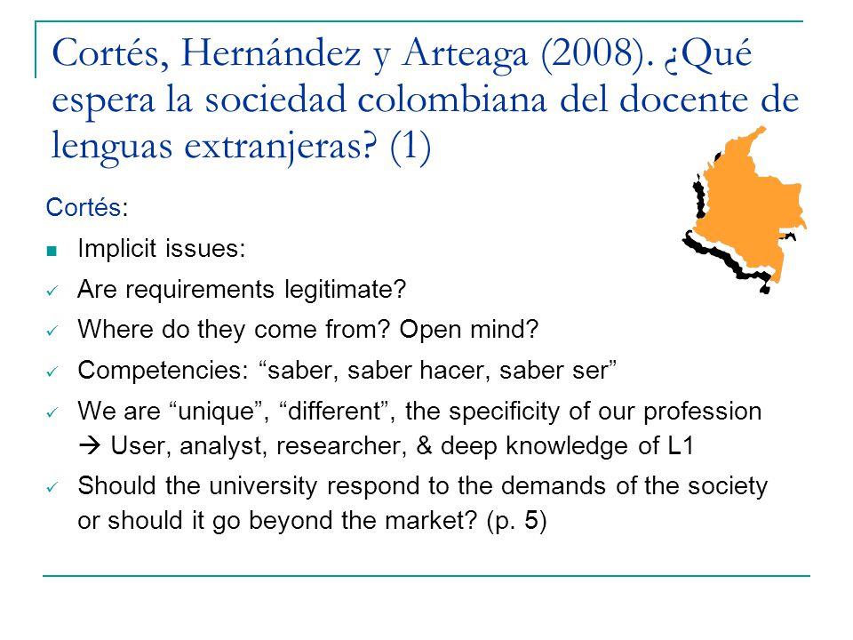 Cortés, Hernández y Arteaga (2008).¿Qué espera la sociedad colombiana….