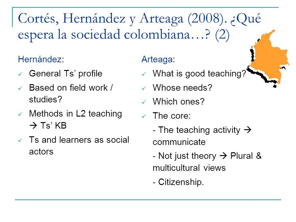 Cortés, Hernández y Arteaga (2008). ¿Qué espera la sociedad colombiana…? (2) Hernández: General Ts' profile Based on field work / studies? Methods in