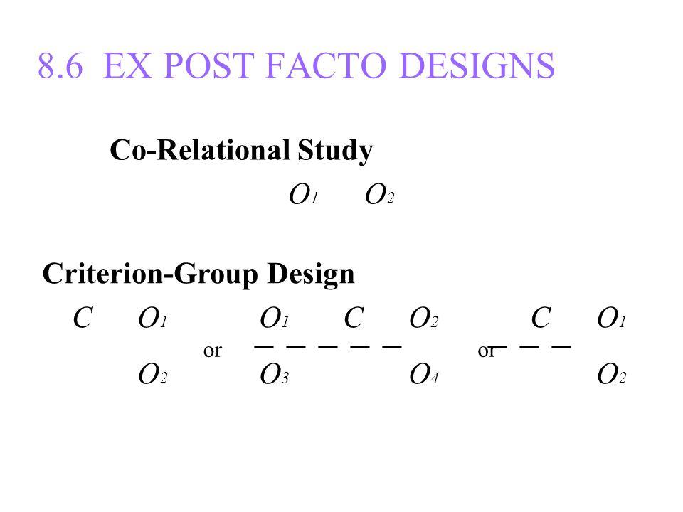 8.6 EX POST FACTO DESIGNS Co-Relational Study O 1 O 2 Criterion-Group Design C O 1 O 1 C O 2 C O 1 ─ ─ ─ ─ ─ ─ ─ ─ C O 2 O 3 C O 4 C O 2 or