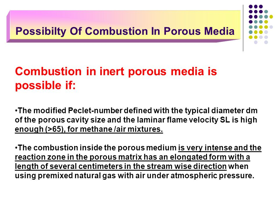 Combustion in inert porous media is possible if: The modified Peclet-number defined with the typical diameter dm of the porous cavity size and the lam