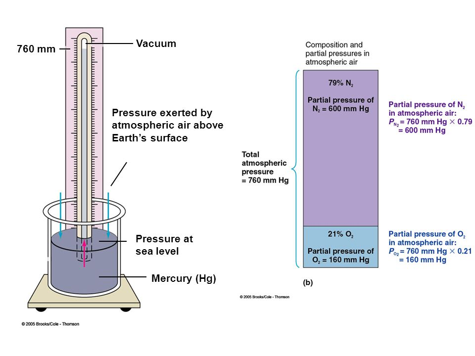 760 mm Pressure at sea level Mercury (Hg) Pressure exerted by atmospheric air above Earth's surface Vacuum