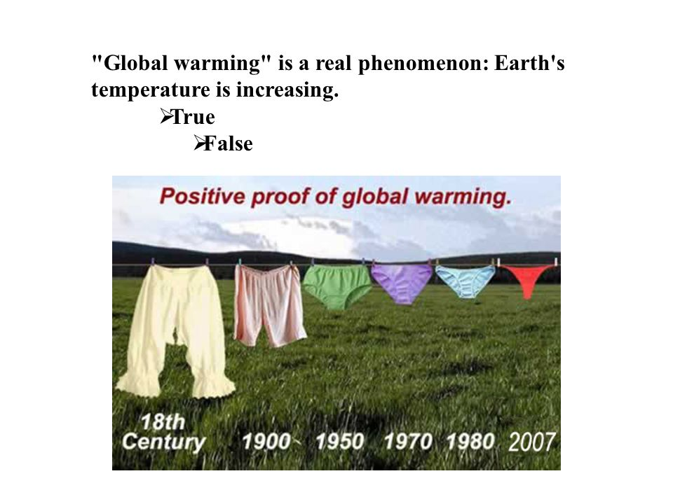 Global warming is a real phenomenon: Earth s temperature is increasing.  True  False
