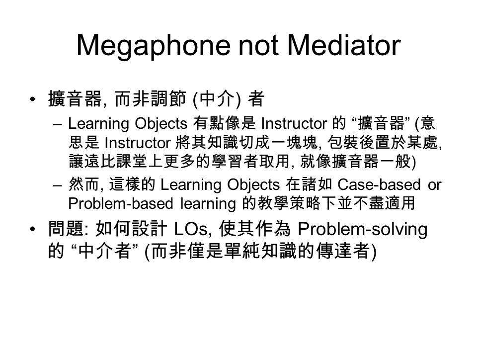 Megaphone not Mediator 擴音器, 而非調節 ( 中介 ) 者 –Learning Objects 有點像是 Instructor 的 擴音器 ( 意 思是 Instructor 將其知識切成一塊塊, 包裝後置於某處, 讓遠比課堂上更多的學習者取用, 就像擴音器一般 ) – 然而, 這樣的 Learning Objects 在諸如 Case-based or Problem-based learning 的教學策略下並不盡適用 問題 : 如何設計 LOs, 使其作為 Problem-solving 的 中介者 ( 而非僅是單純知識的傳達者 )