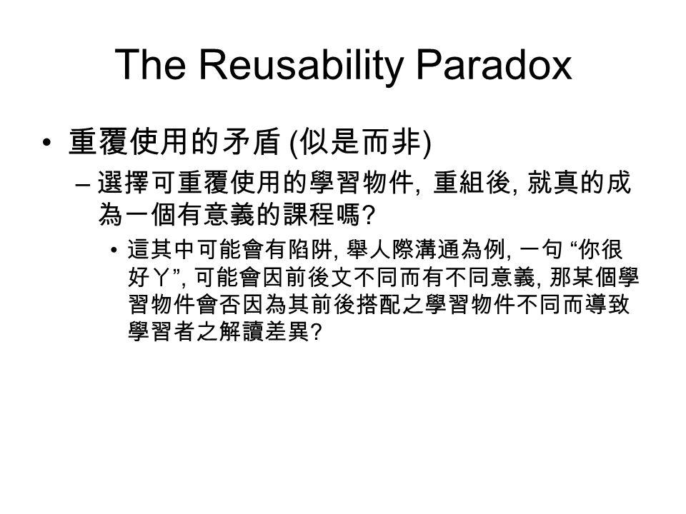 The Reusability Paradox 重覆使用的矛盾 ( 似是而非 ) – 選擇可重覆使用的學習物件, 重組後, 就真的成 為一個有意義的課程嗎 .