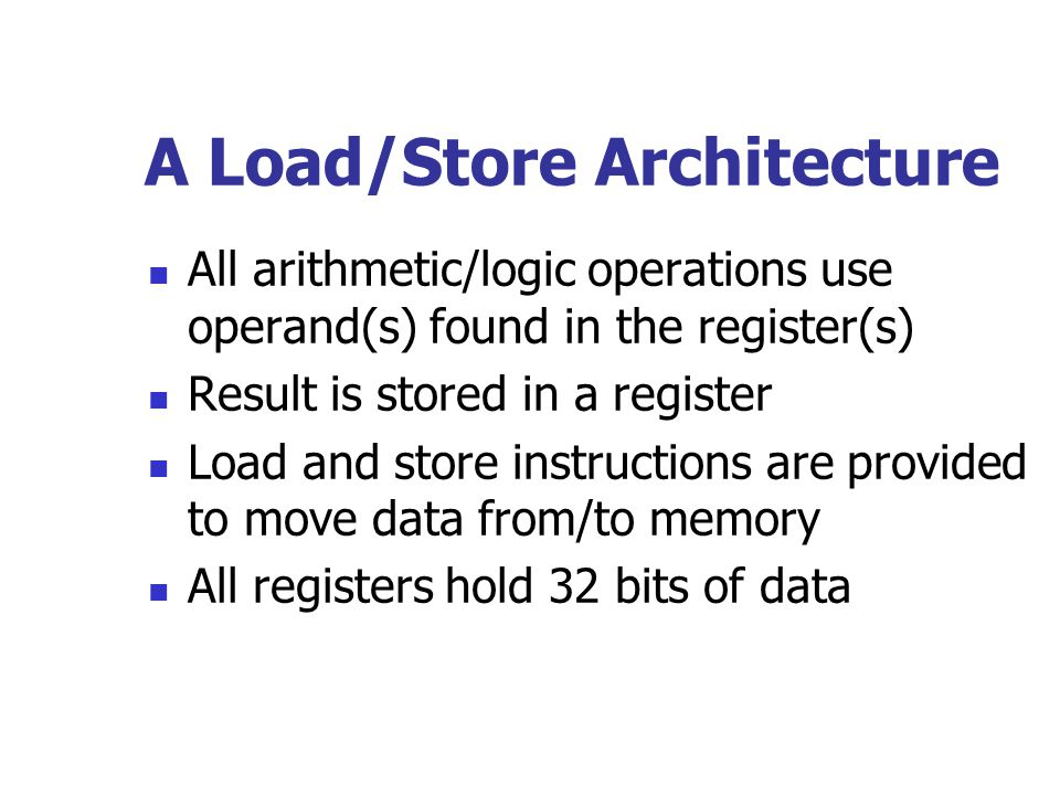 Registers Registers eliminate access to system bus and memory Registers provide rapid, direct access to operands Each function of the program has 32 registers available to it at any on time Four sets of eight registers each: global, in, local, and out.