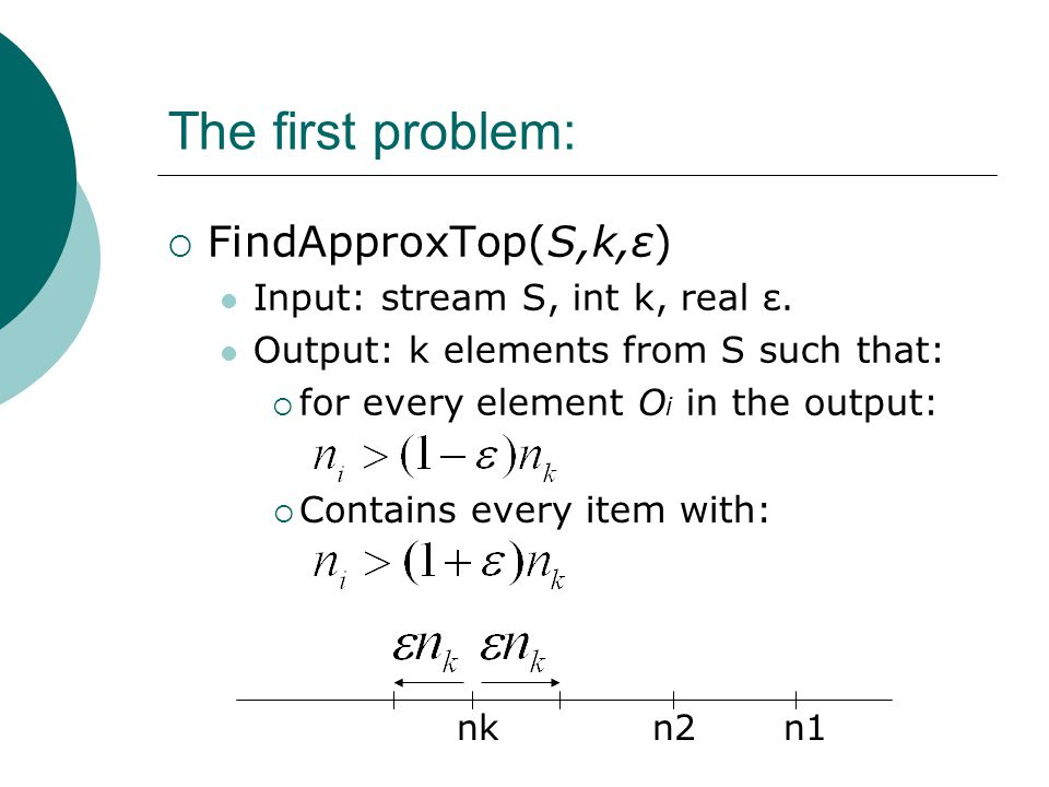 The first problem:  FindApproxTop(S,k,ε) Input: stream S, int k, real ε. Output: k elements from S such that:  for every element O i in the output: