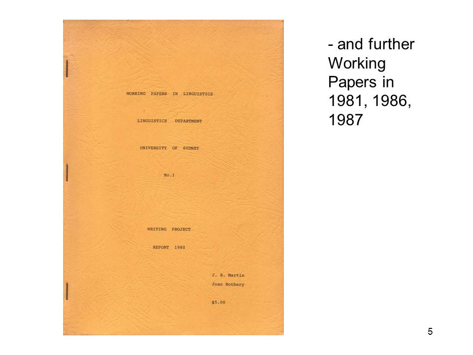 5 - and further Working Papers in 1981, 1986, 1987