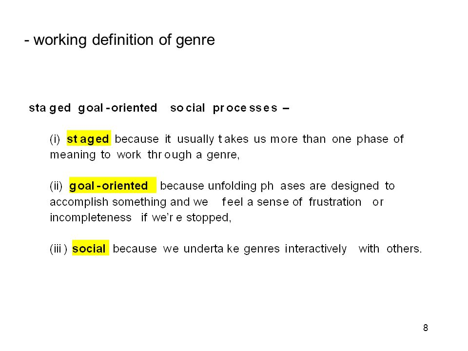 8 - working definition of genre