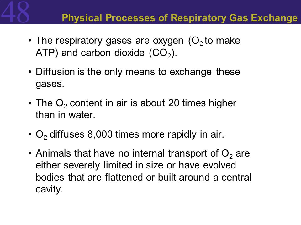 48 Physical Processes of Respiratory Gas Exchange Fick's law of diffusion: Q = DA (P 1 - P 2 /L)  Q is the rate at which a substance diffuses between two locations.