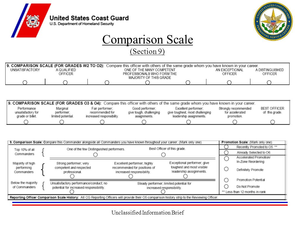 Unclassified Information Brief Comparison Scale (Section 9)