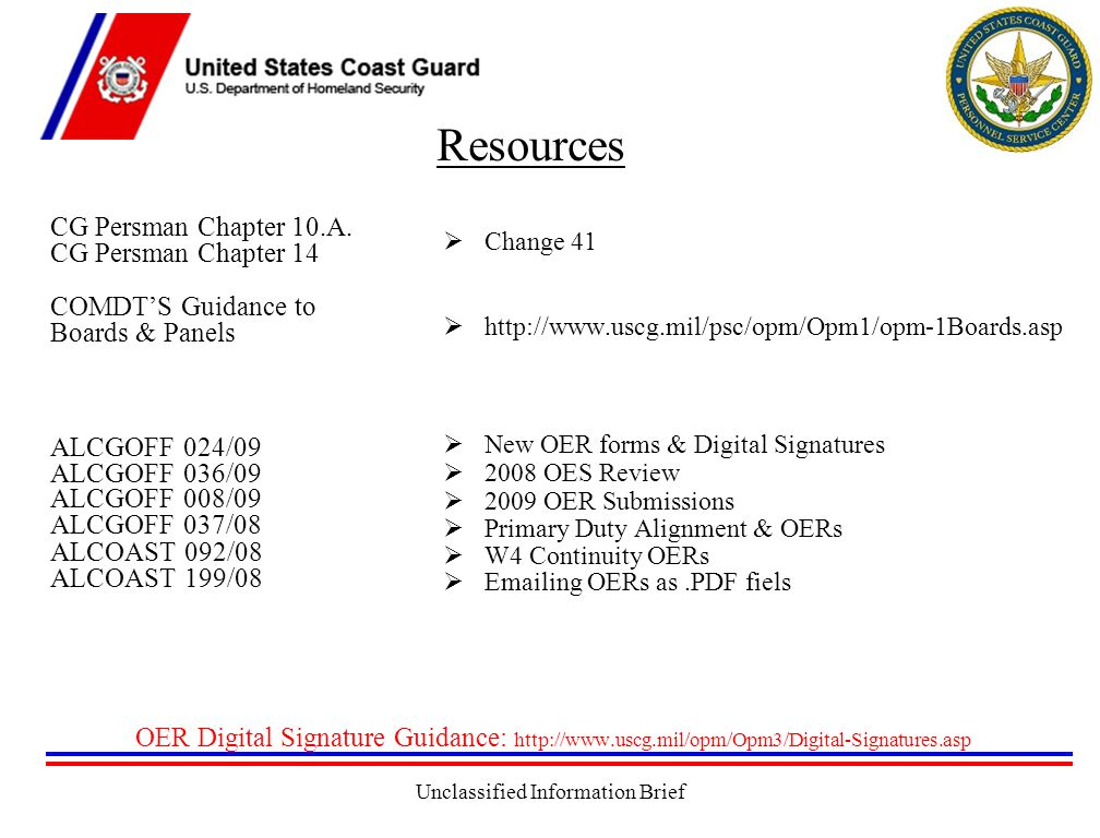 Unclassified Information Brief Resources CG Persman Chapter 10.A.