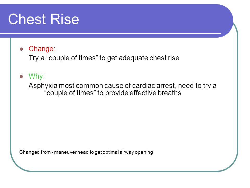 Chest Rise Change: Try a couple of times to get adequate chest rise Why: Asphyxia most common cause of cardiac arrest, need to try a couple of times to provide effective breaths Changed from - maneuver head to get optimal airway opening