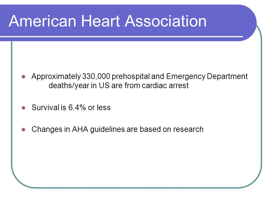 American Heart Association Approximately 330,000 prehospital and Emergency Department deaths/year in US are from cardiac arrest Survival is 6.4% or less Changes in AHA guidelines are based on research