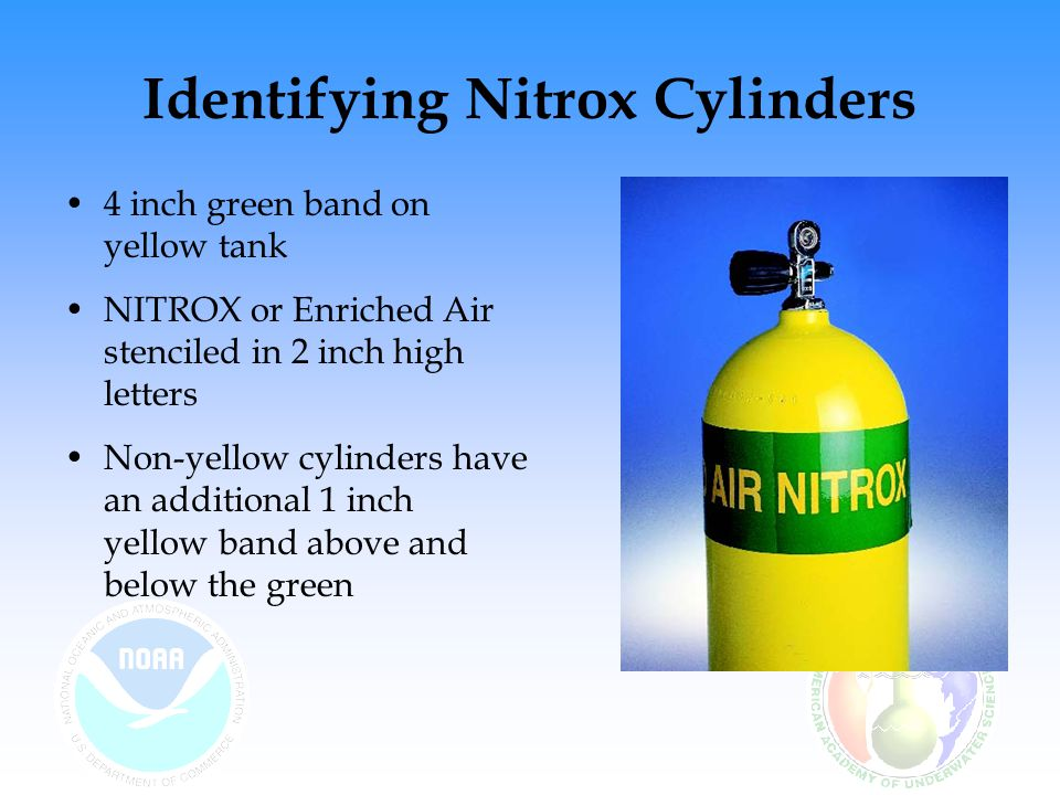 Other Identification Labels Cylinder Oxygen Service Label –designates cleanliness for O 2 service –new label required annually or if contaminated Visual Inspection –annually or sooner