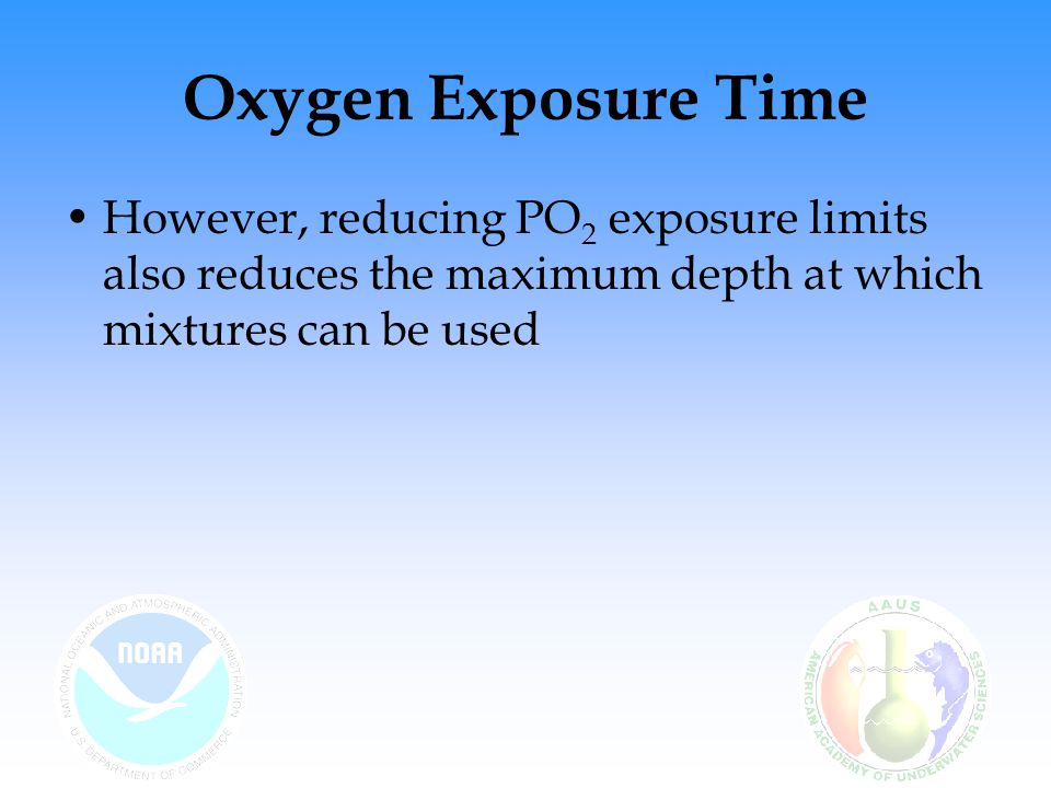 Oxygen Exposure Time Using a 32% mix at 130 ft results in a PO 2 of 1.58.