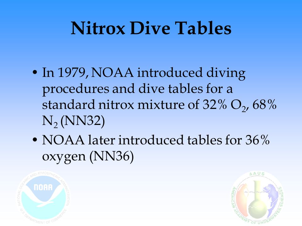 Nitrox Dive Tables NOAA Nitrox dive tables are the basis for many recreational nitrox dive tables The display of the tables may even be in the same format as the NOAA tables, but have been made more conservative by lowering maximum dive times for certain depths Additionally, the recommended safety stop depth for recreational tables may be slightly different, and the surface interval for a dive not to be considered repetitive may be increased from the NOAA standard of 12 hours to 24 hours