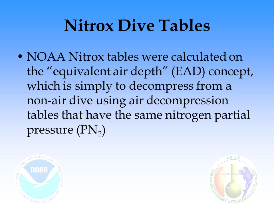 Nitrox Dive Tables NOAA offers abbreviated and full versions of Nitrox 32 and 36 dive tables in Appendix VII of the NOAA Diving Manual The abbreviated version of these tables provide for only one level of required decompression The full version of these tables are in the same format as US Navy Dive Tables and include multiple levels of required decompression