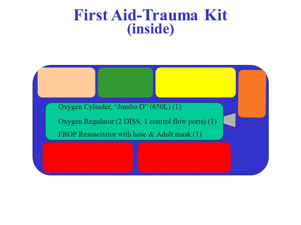 First Aid-Trauma Kit (inside) Oxygen Cylinder, Jumbo D (650L) (1) Oxygen Regulator (2 DISS, 1 control flow ports) (1) FROP Resuscitator with hose & Adult mask (1)
