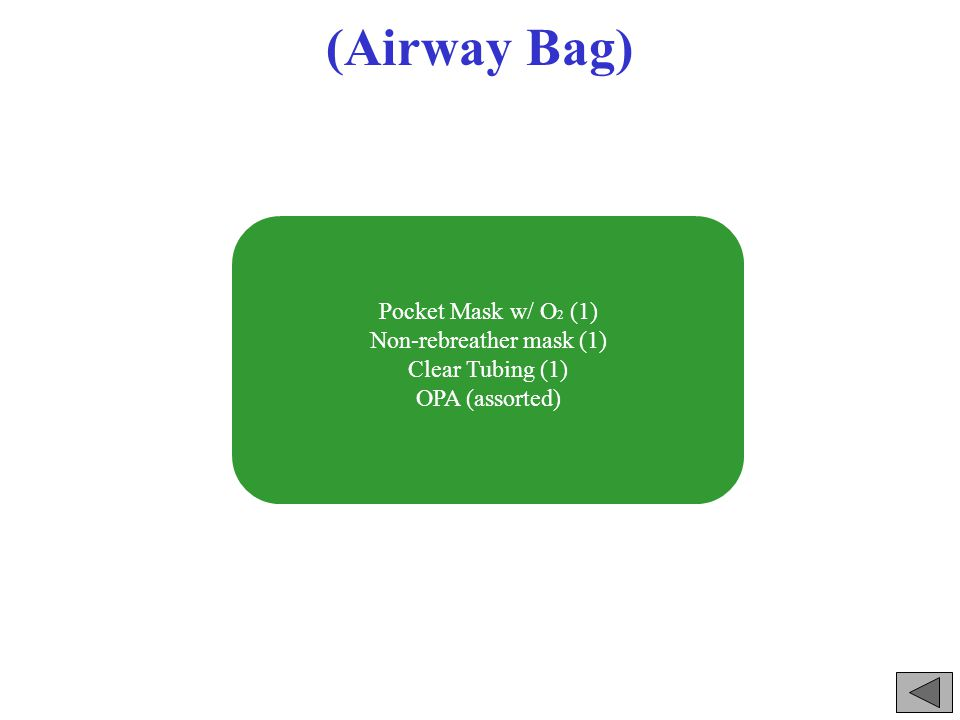 (Airway Bag) Pocket Mask w/ O 2 (1) Non-rebreather mask (1) Clear Tubing (1) OPA (assorted)