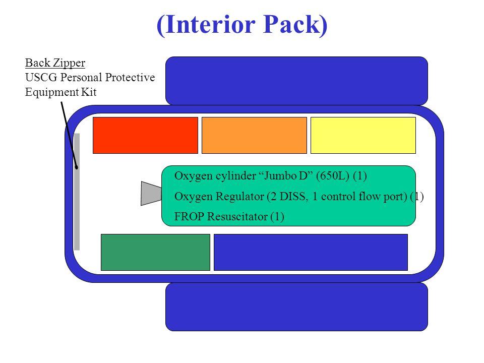 (Interior Pack) Back Zipper USCG Personal Protective Equipment Kit Oxygen cylinder Jumbo D (650L) (1) Oxygen Regulator (2 DISS, 1 control flow port) (1) FROP Resuscitator (1)