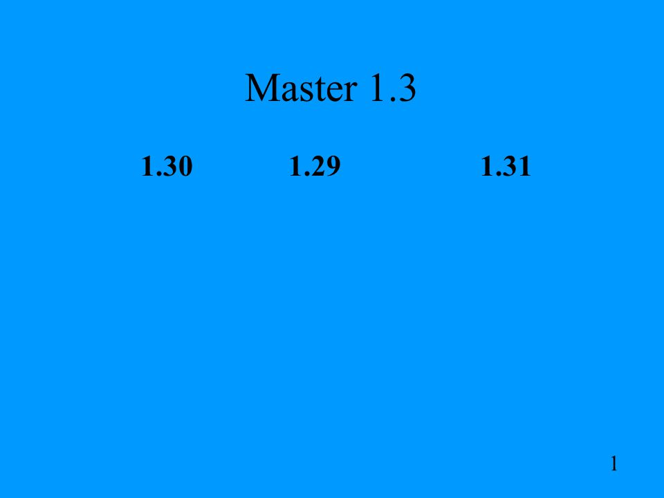 Master 1.3 1.30 1.29 1.31 1