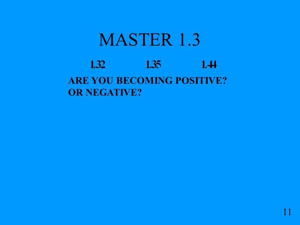 MASTER 1.3 11 ARE YOU BECOMING POSITIVE? OR NEGATIVE?