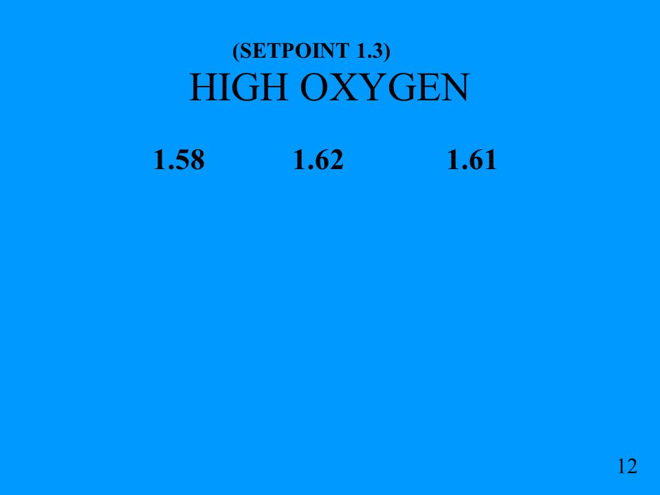 HIGH OXYGEN 1.58 1.62 1.61 (SETPOINT 1.3) 12b PROBABLE HYPEROXIC MIX STOP: DO NOT DESCEND CELL AVG: 1.615 GO TO O.C.