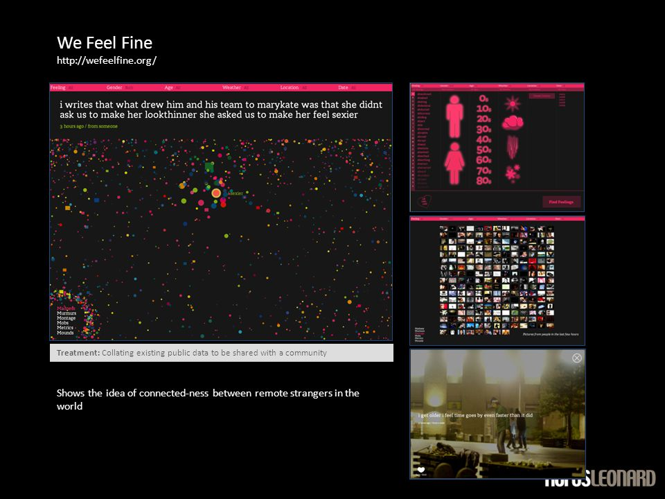 We Feel Fine http://wefeelfine.org/ Shows the idea of connected-ness between remote strangers in the world Treatment: Collating existing public data to be shared with a community