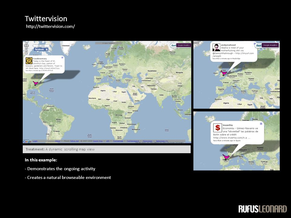 Twittervision http://twittervision.com/ In this example: - Demonstrates the ongoing activity - Creates a natural browseable environment Treatment: A dynamic scrolling map view