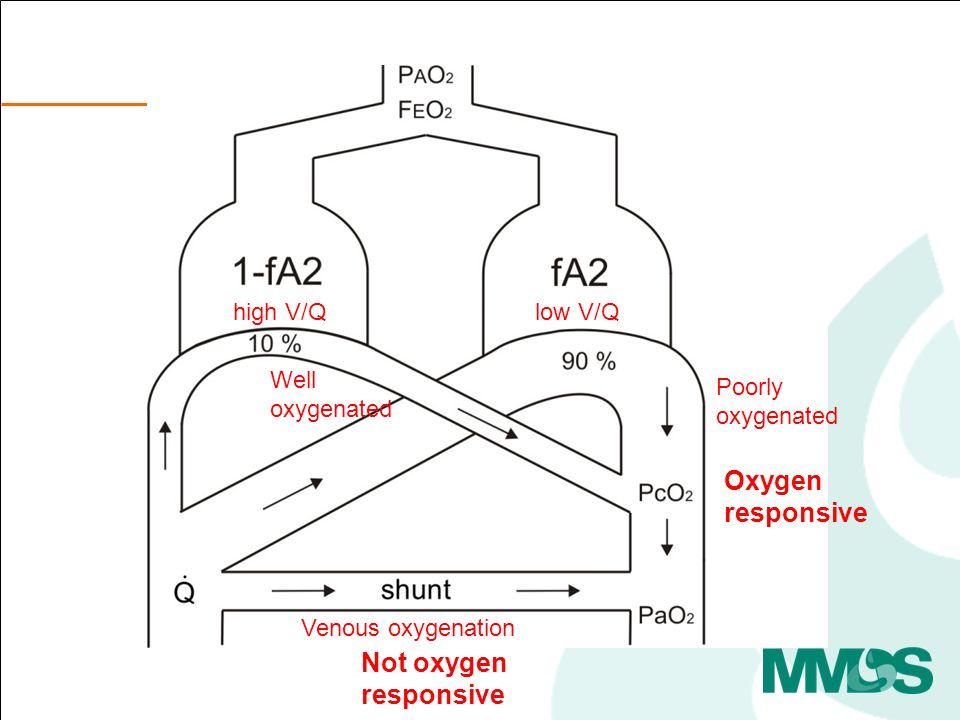 low V/Qhigh V/Q Poorly oxygenated Oxygen responsive Venous oxygenation Not oxygen responsive Well oxygenated