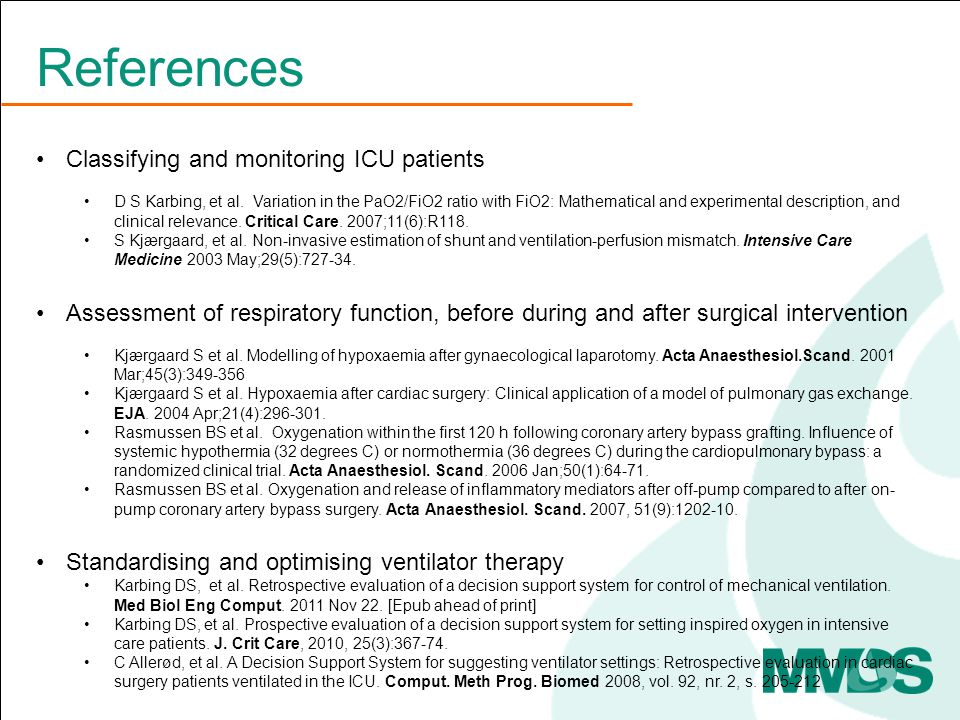 Classifying and monitoring ICU patients D S Karbing, et al.