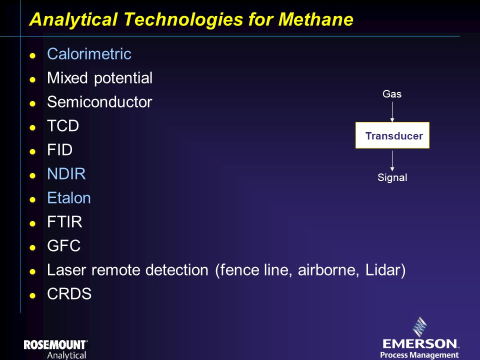[File Name or Event] Emerson Confidential 27-Jun-01, Slide 11 Analytical Technologies for Methane Calorimetric Mixed potential Semiconductor TCD FID NDIR Etalon FTIR GFC Laser remote detection (fence line, airborne, Lidar) CRDS Gas Signal Transducer