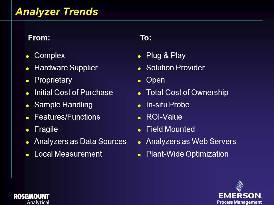 [File Name or Event] Emerson Confidential 27-Jun-01, Slide 8 Analyzer Trends Complex Hardware Supplier Proprietary Initial Cost of Purchase Sample Handling Features/Functions Fragile Analyzers as Data Sources Local Measurement Plug & Play Solution Provider Open Total Cost of Ownership In-situ Probe ROI-Value Field Mounted Analyzers as Web Servers Plant-Wide Optimization From:To: