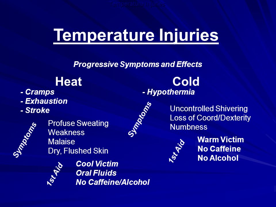 Temperature Injuries Progressive Symptoms and Effects Heat Cold - Cramps - Exhaustion - Stroke Profuse Sweating Weakness Malaise Dry, Flushed Skin Cool Victim Oral Fluids No Caffeine/Alcohol Symptoms - Hypothermia Uncontrolled Shivering Loss of Coord/Dexterity Numbness Warm Victim No Caffeine No Alcohol Symptoms 1st Aid