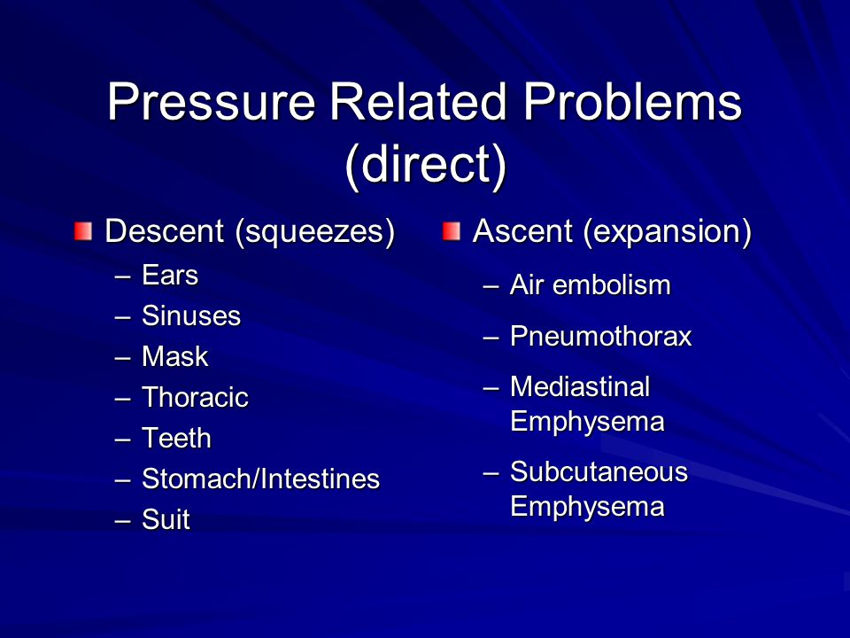 Pressure Related Problems (direct) Descent (squeezes) –Ears –Sinuses –Mask –Thoracic –Teeth –Stomach/Intestines –Suit Ascent (expansion) –Air embolism