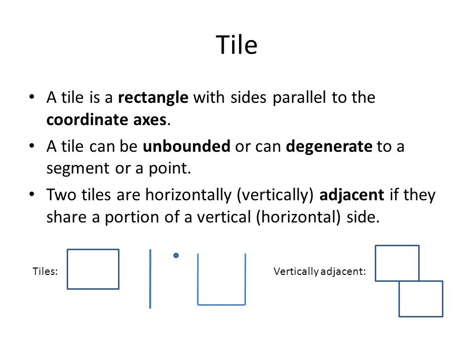 Tile A tile is a rectangle with sides parallel to the coordinate axes.