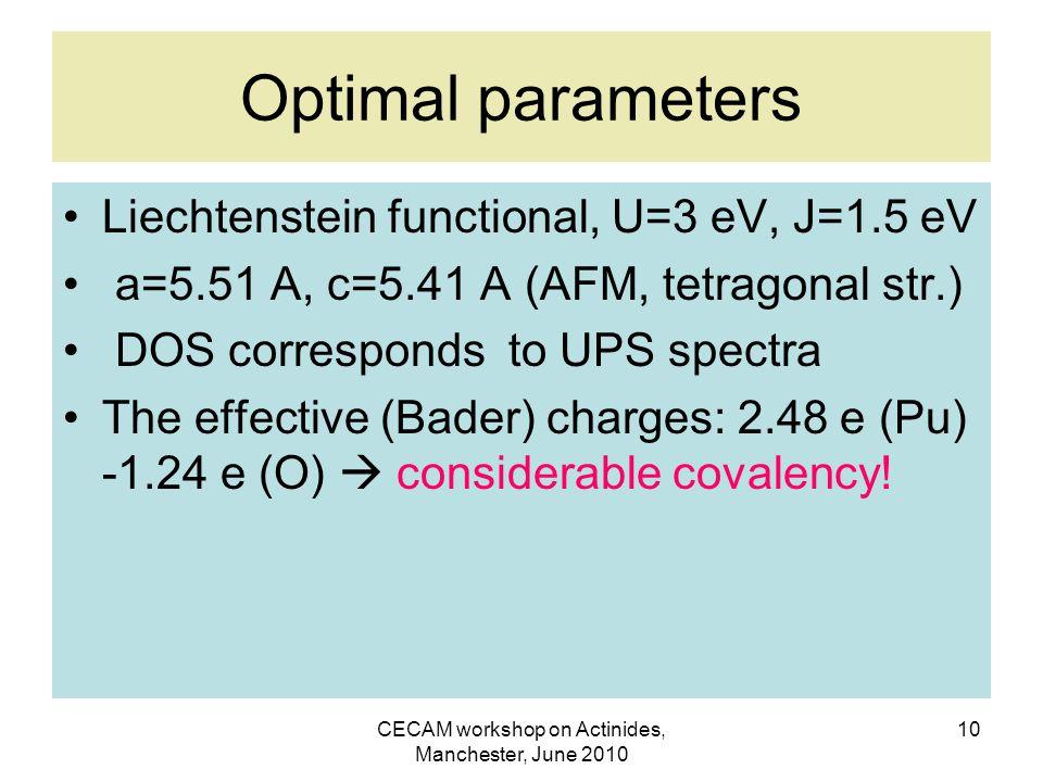 CECAM workshop on Actinides, Manchester, June 2010 10 Optimal parameters Liechtenstein functional, U=3 eV, J=1.5 eV a=5.51 A, c=5.41 A (AFM, tetragonal str.) DOS corresponds to UPS spectra The effective (Bader) charges: 2.48 e (Pu) -1.24 e (O)  considerable covalency!
