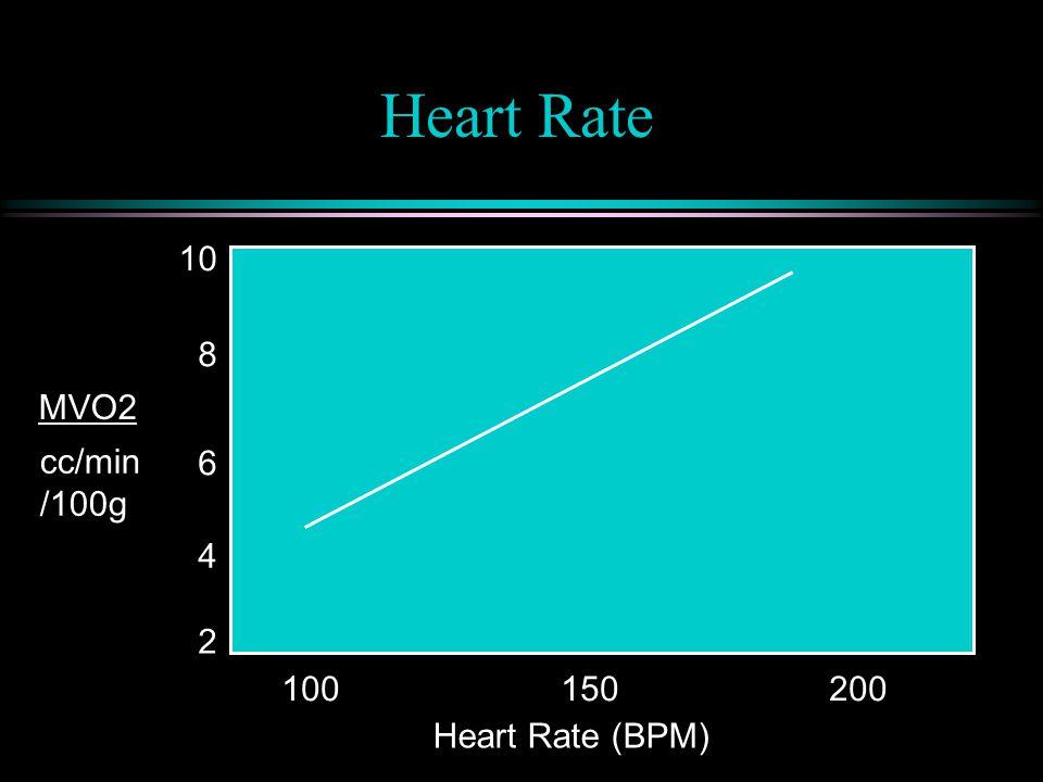 Heart Rate 100 150 200 cc/min /100g MVO2 2 10 6 8 4 Heart Rate (BPM)