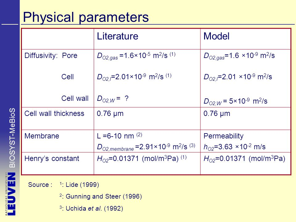 BIOSYST-MeBioS Physical parameters LiteratureModel Diffusivity: Pore Cell Cell wall D O2,gas =1.6×10 -5 m 2 /s (1) D O2,l =2.01×10 -9 m 2 /s (1) D O2,W = .