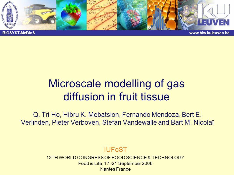 BIOSYST-MeBioSwww.biw.kuleuven.be Microscale modelling of gas diffusion in fruit tissue Q. Tri Ho, Hibru K. Mebatsion, Fernando Mendoza, Bert E. Verli