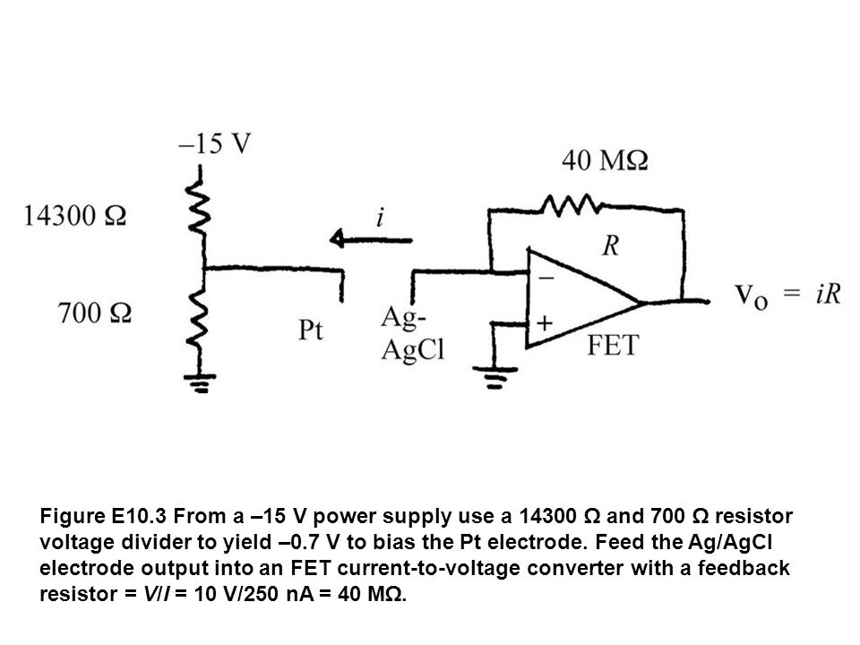 Figure E10.3 From a –15 V power supply use a 14300 Ω and 700 Ω resistor voltage divider to yield –0.7 V to bias the Pt electrode.