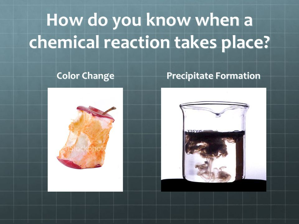 How do you know when a chemical reaction takes place ? Gas Formation Odor