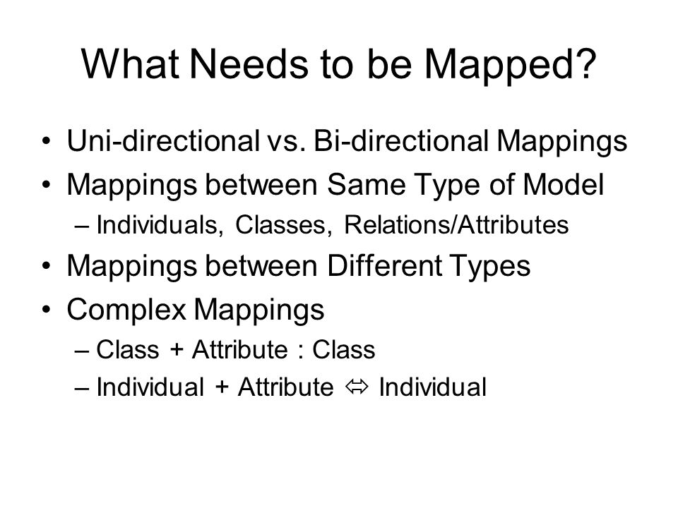 What Needs to be Mapped.Uni-directional vs.