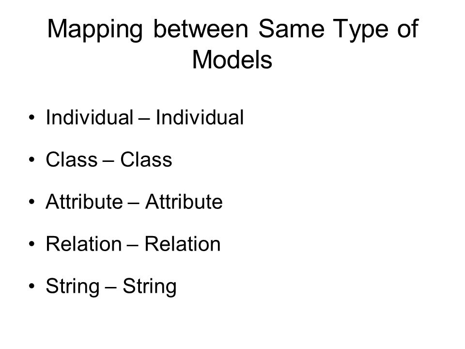 Mapping between Same Type of Models Individual – Individual Class – Class Attribute – Attribute Relation – Relation String – String