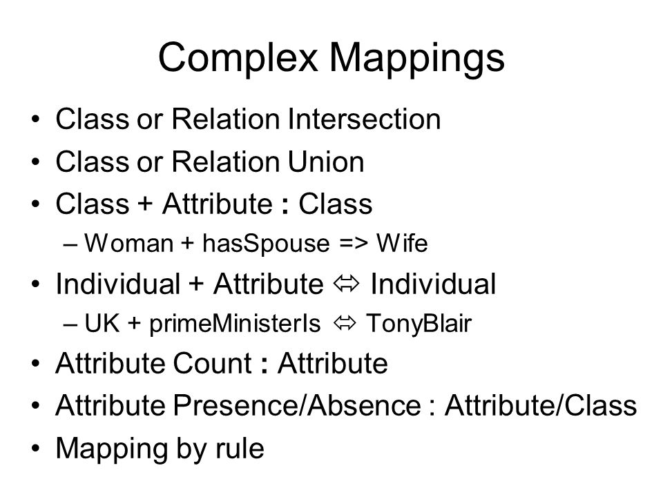 Complex Mappings Class or Relation Intersection Class or Relation Union Class + Attribute : Class –Woman + hasSpouse => Wife Individual + Attribute 